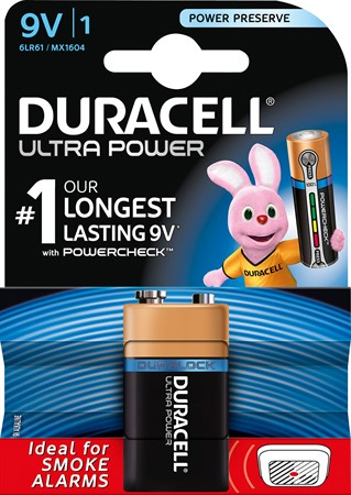 Duracell Ultra Power 9V 6LR61 10x1-p